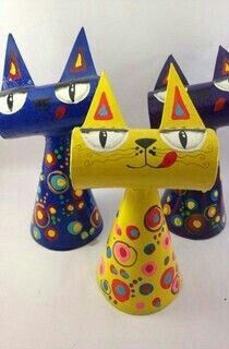 Yarn cone and TP roll put to use to make an adorable cat!