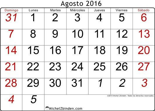 calendario agosto 2016 libre de imprimir Tradicional domingo Argentina