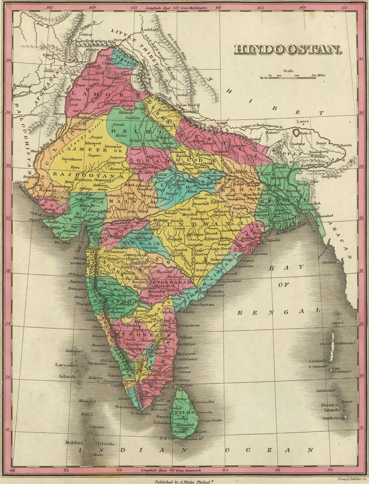 Map of Hindostan or India 1831 by