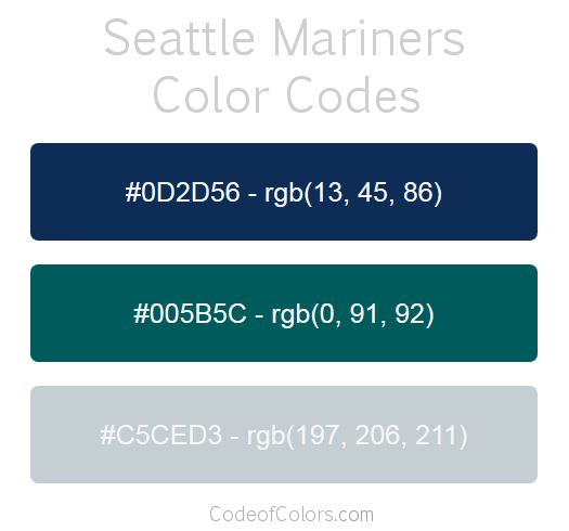 Seattle Mariners Team Color Codes | MLB Team Colors ...