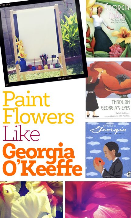 A fun art history project for kids to learn about Georgia O'Keeffe's art as they paint flowers. Perfect for a weekend project outside, or as an addition to a homeschool artist study.