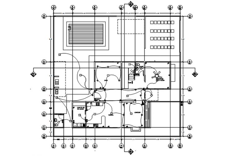 Second floor plan of electrical installation of house in