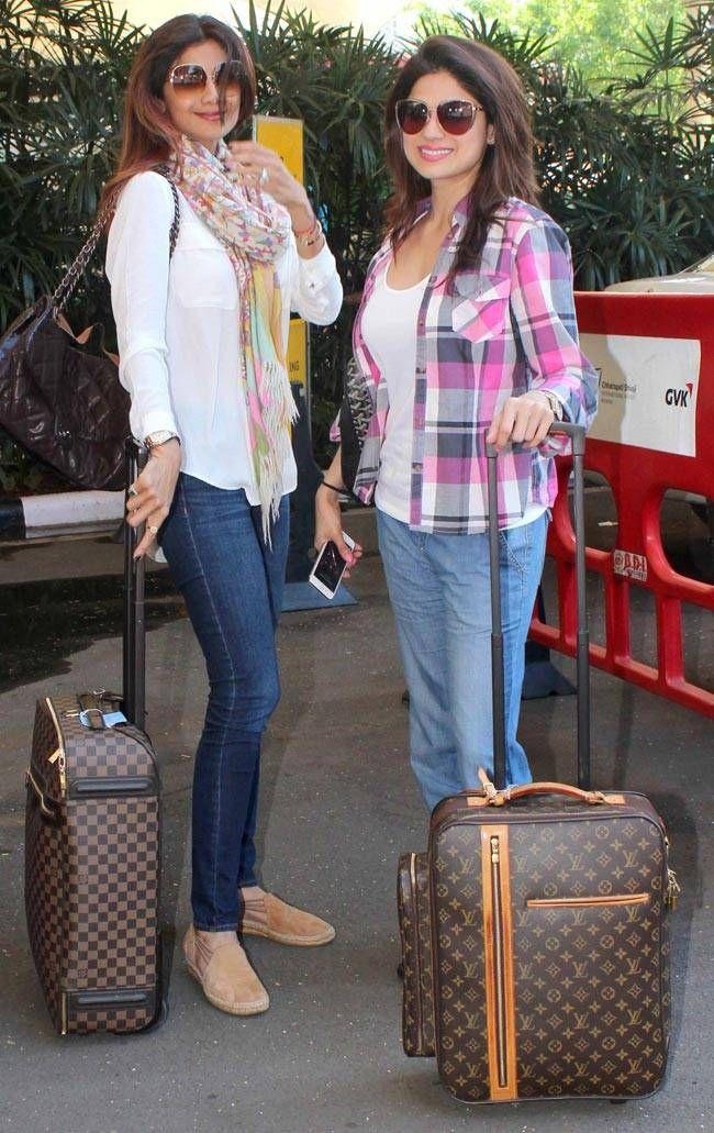Shilpa Shetty and Shamita Shetty at the Mumbai airport. #Bollywood #Fashion…