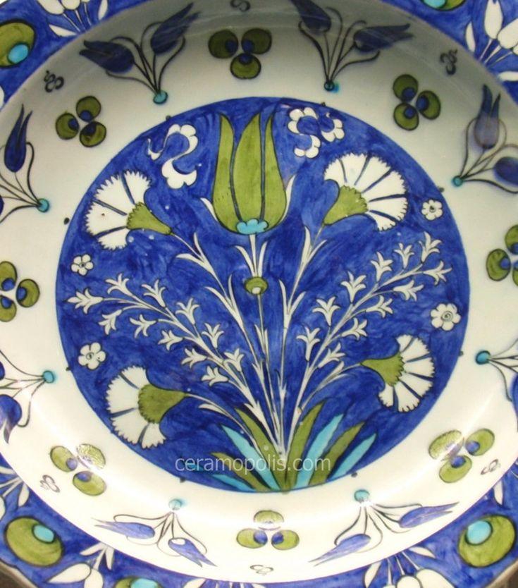 Iznik Plate – Motif Carnations/Tulip Iznik 16th – British Museum UK