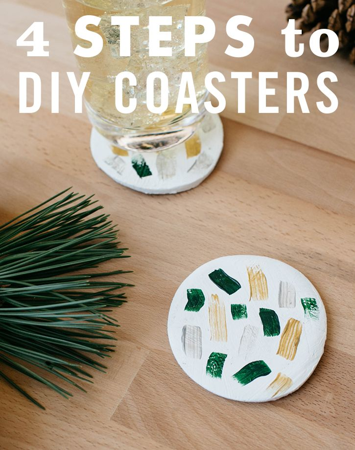 Dress up your table for your next party, dinner or just because with these easy-to-make DIY clay coasters. Start by rolling out a bit of air dry clay. Not perfectly flat? No biggie — just try rolling them out again. Then, cut them into circular shapes with a cookie cutter. Once dry, decorate with acrylic paint, stamps or whatever else you can get your crafty hands on. Finish up with a coat of clear drying adhesive sealer. Voila! Instant table makeover. Click through for the full DIY.
