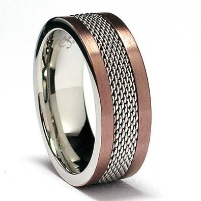Chocolate Stainless Steel Ring with Mesh Inlay