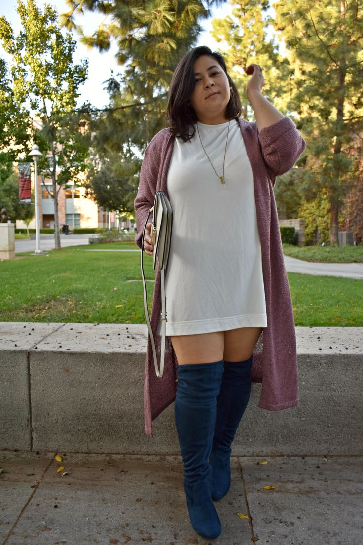 Wide calf navy OTK boots for Fall; OOTD 15