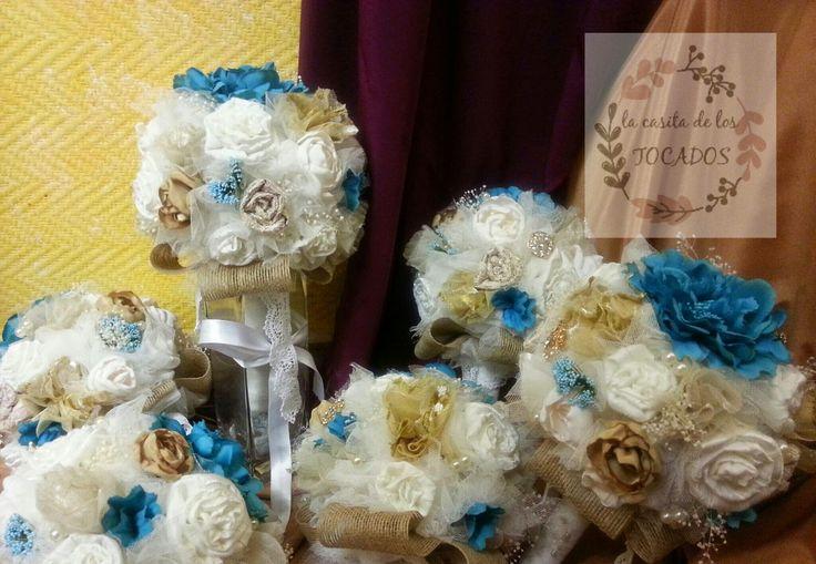 Ramos de novia vintage: Bouquets vintage para boda realizados por encargo en colores marfil, beige, dorado y turquesa