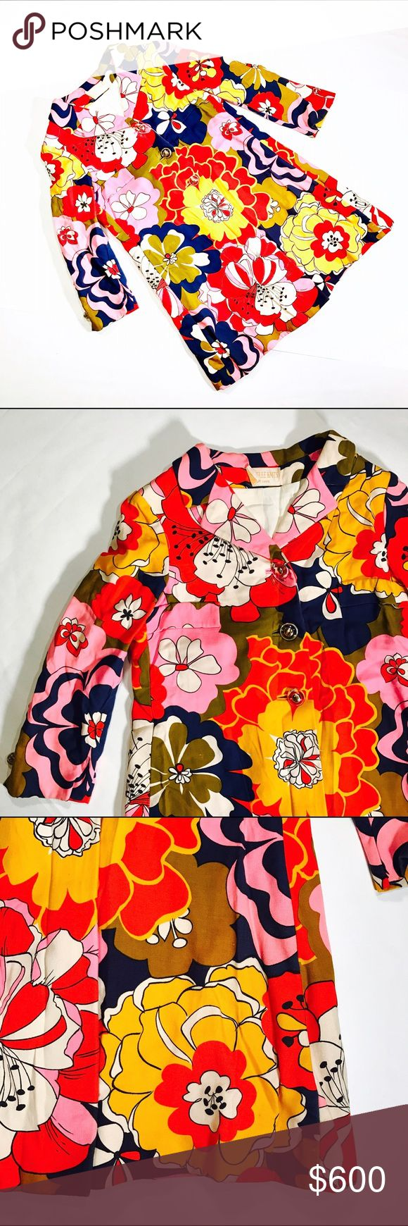 """VINTAGE 1960's  MAM'SELLE KNITS BETTY CAROL It's really this bright! So vibrant and gorgeous. 100% authentic 1960s, extremely rare find! Fully lined, original buttons. This is a swing coat, measurements seem large but this is appx an XS/2/4 (arms are small and 3/4 length)             CONDITION: EUC, minimal signs of wear esp for vintage  CHEST:  40"""" WAIST: 38"""" LENGTH: 34"""" *All measurements taken flat (doubled when necessary) and measured across the front  MATERIAL: ? STRETCH: min/none…"""