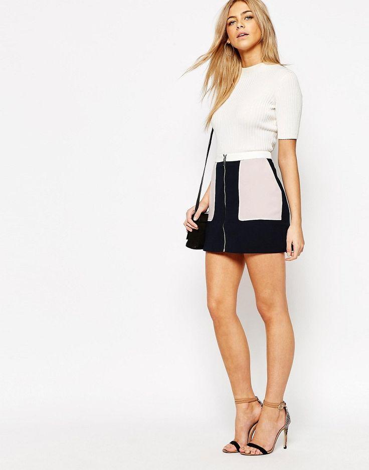 Oasis+Zip+Front+Colour+Block+Skirt