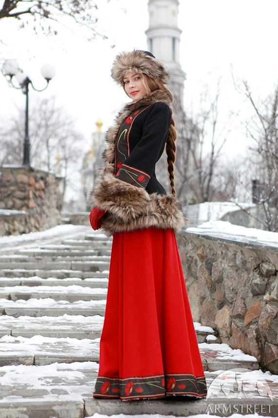 "Long Wool Skirt and Fitted Jacket in red and black with traditional floral. ""Russian Seasons"" by armstreet on Etsy"