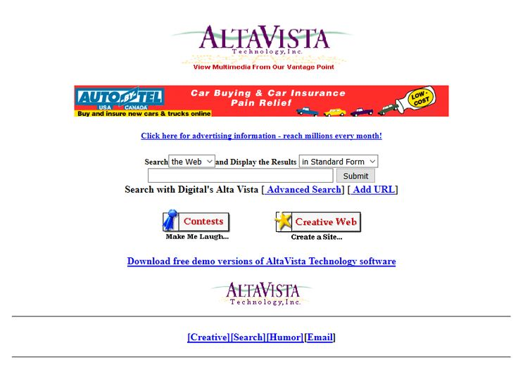 Altavista website in 1996