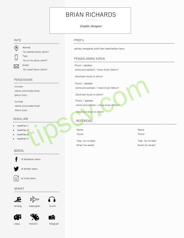 Download Format Cv Kosong Doc Creative Cv Template Cv Kreatif Desain Cv