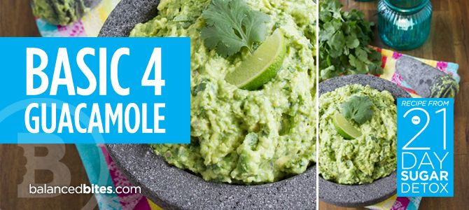 Easy Recipe – Basic 4 Guacamole from The 21-Day Sugar Detox  #BalancedBites #21DSD