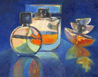 Artwork - Blue Still life - Interior Art - The fragrance - Contemporary Art - Wall hanging - Oil Painting on canvas - 20x15 inches