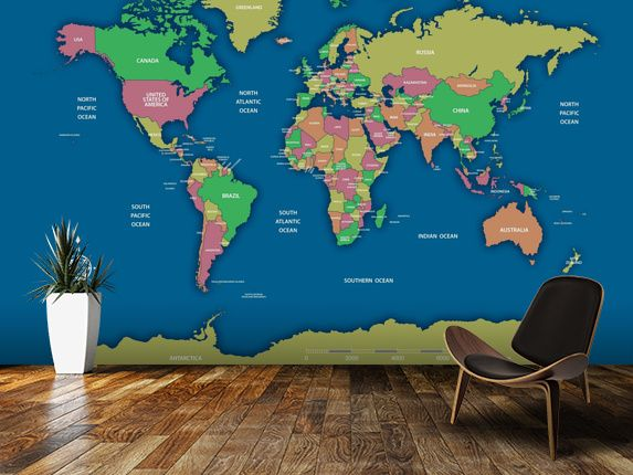 Labelled World Map II wall mural room setting | Rooms