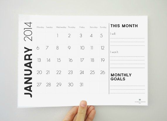 Printable Monthly Calendar for 2014 - 12 Month Calendar - Monthly Goals - Digital PDF File