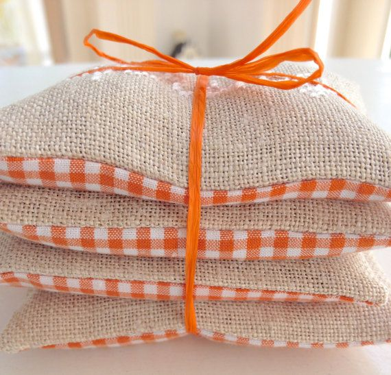 Four Seasons Lavender Sachets Cross Stitch Spring Summer Autumn Winter Home Decor Orange Gingham Fabric