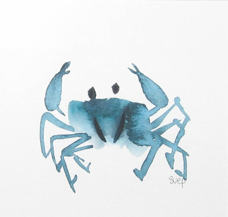 """""""Little crab"""" - watercolour (chinese brushstrokes)"""