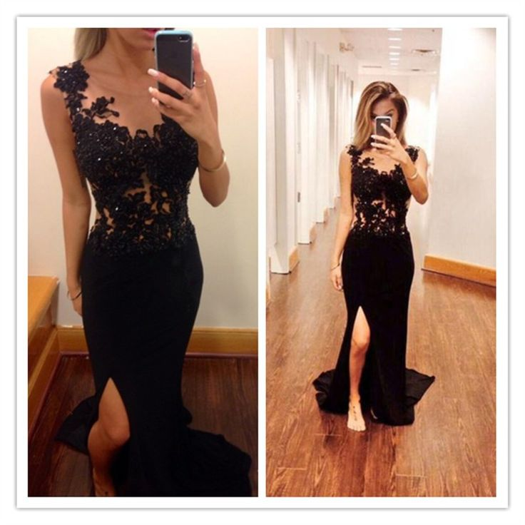 2016 Mermaid Black Prom Dress With Lace Beaded Chiffon Slit Prom Gown from…
