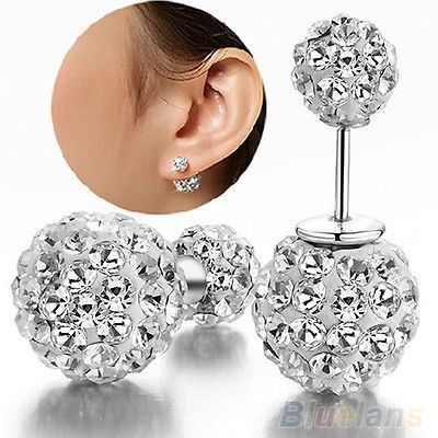 Gorgeous Double Ball Crystal 6mm & 10mm Studs $10.00