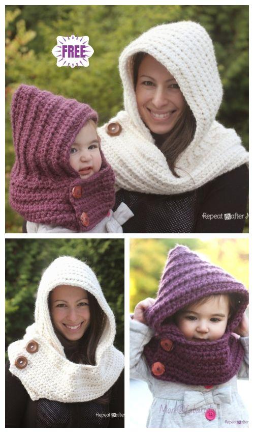 Crochet Capuz Com Capuz Scarfie Livre Padrão De Crochet