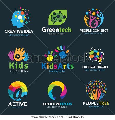 Logo set,logo collection,idea logo,kids logo collection,family logo,people logo,creative logo design template,eco logo set,brain logo,vector logo template - stock vector