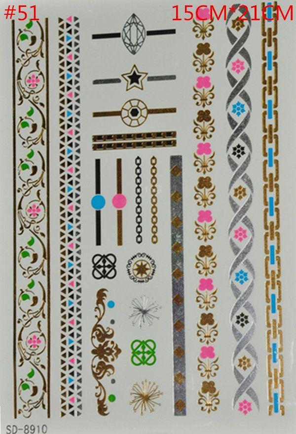 Золото татуировки продукты секса ожерелье браслеты татуировки металлические временные татуировки женщины флэш татуировки металлик поддельные золото серебро татуировки