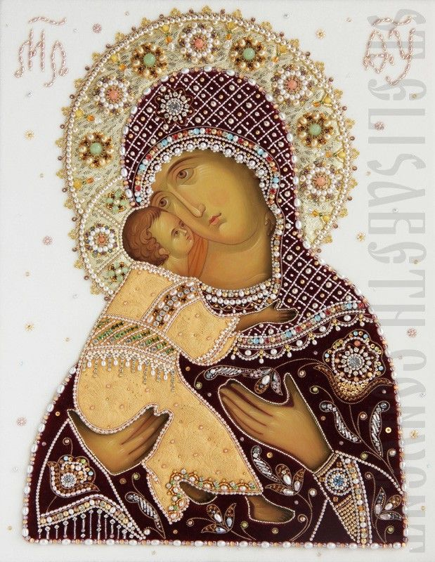 Hand Painted Icon of the Mother of God of Vladimir in an Oklad. Icon Casing Workshop of St Elisabeth Convent - #icon #MotherofGod #Blessed #VirginMary #CatalogOfGoodDeed #christianity #orthodoxy #church #Mary #handpainted #handmade #oklad #riza