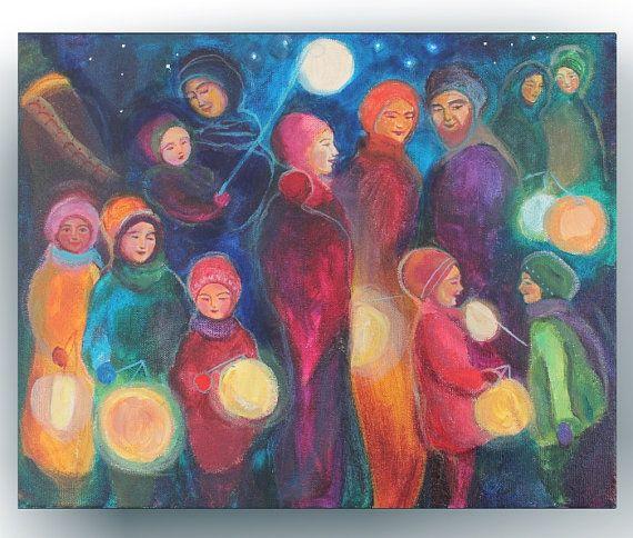 Waldorf Paintings Lantern Walk in A Deep Green Blue by BelovedYou