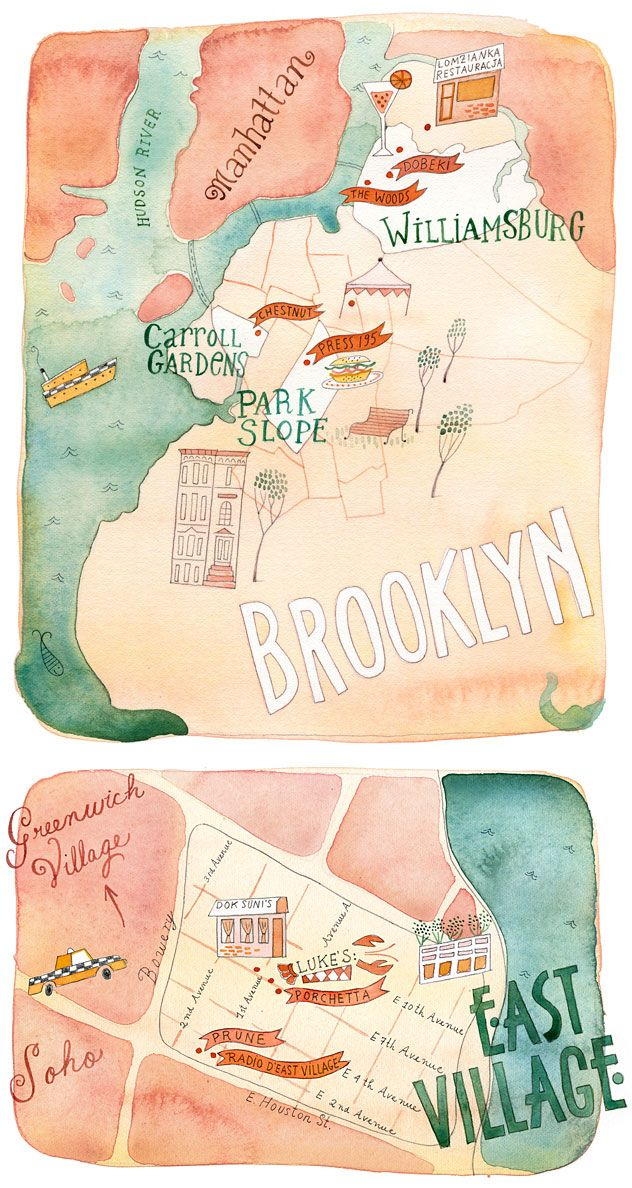 Very un-NYC colors, but it works so well. Love the look. Illustrated map of New York City - Janice Nadeau