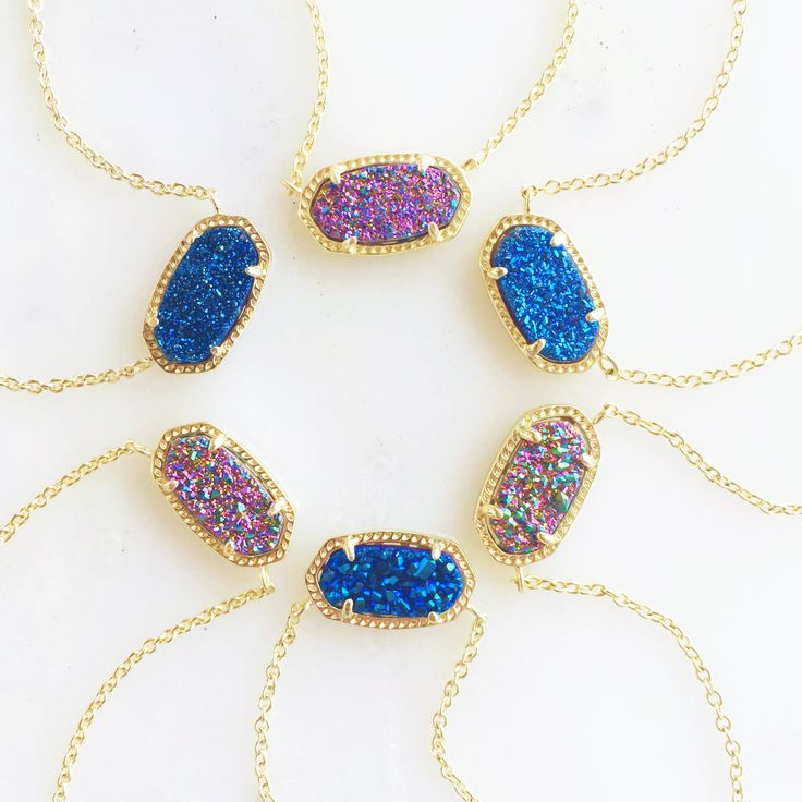 The drusy you asked for and adore! We've brought back our fan favorite multi-color drusy and blue drusy Elisa Necklaces just for you.