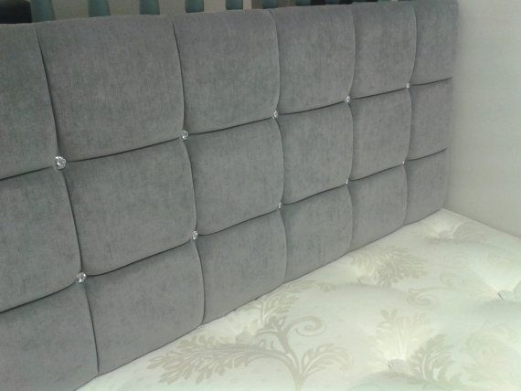 Crystal Buttoned Grey 5ft King Size Headboard by Jacobsheadboards, £59.00