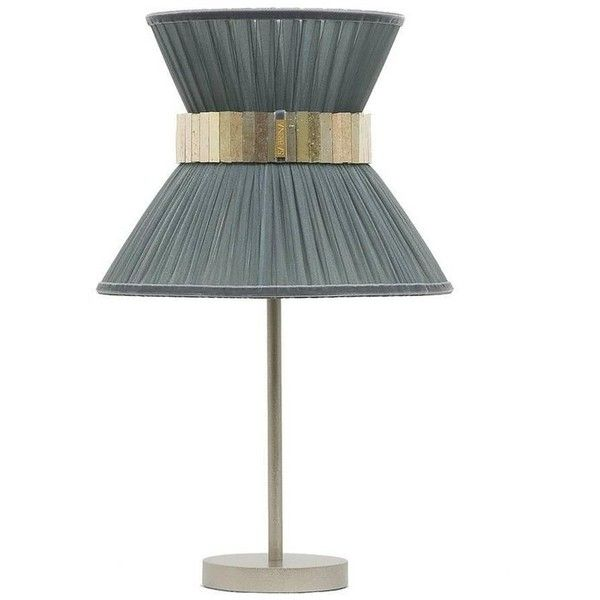 Tiffany Table Lamp Nickel Brass Grey Silk Shade Silvered Glass Sabrina... ($1,068) ❤ liked on Polyvore featuring home, lighting, table lamps, grey, pleated lamp shade, grey lamp shade, brass standing lamp, gray table lamps and solid brass table lamps