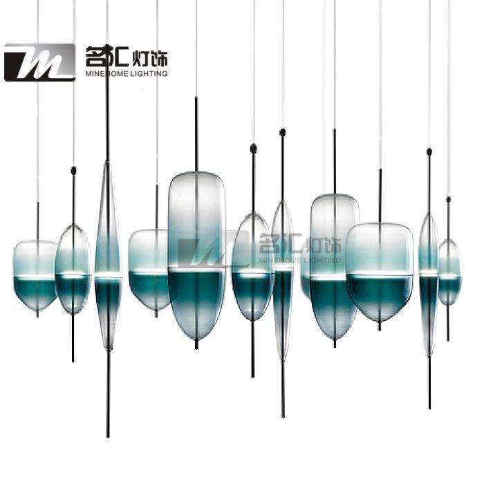 Современное стекло дизайнер градиент цвета светодиодные лампы отель ресторан столовая люстра декоративный дизайн - Taobao