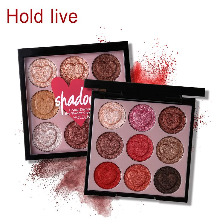 Hold Live 9 Colors Intense Crystal Diamond Cream Eyeshadow Palette Glitter Shimmer Heart Shaped Eye Shadow Makeup Smooth Eyes #Affiliate