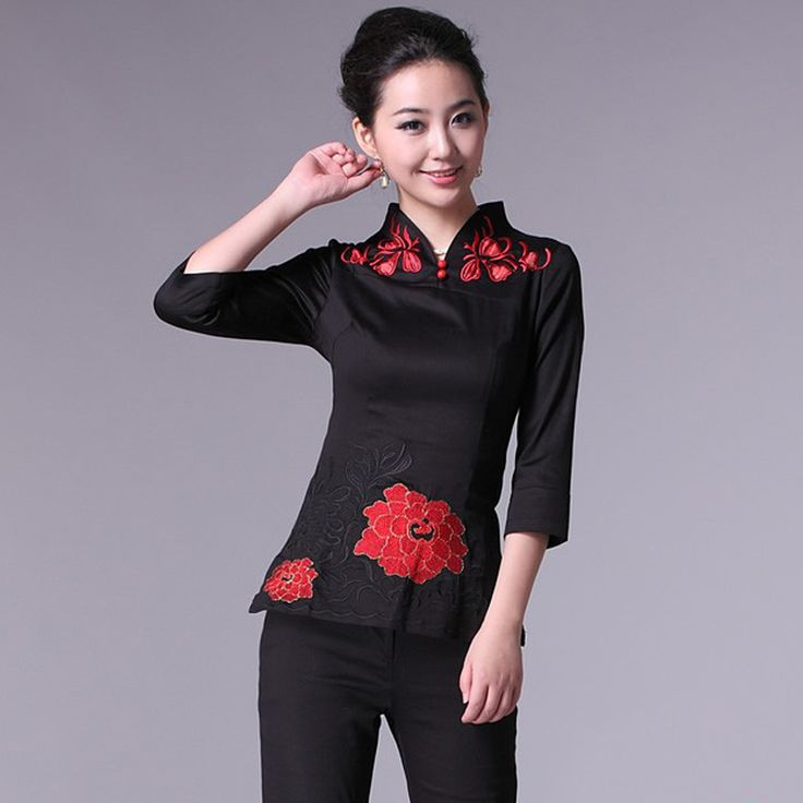 10% off - Coupon code: 9fuda-p10 - no minimum! - Red Flowers Embroidery Black Shirt - 3/4 Sleeve - Chinese Shirts & Blouses - Women