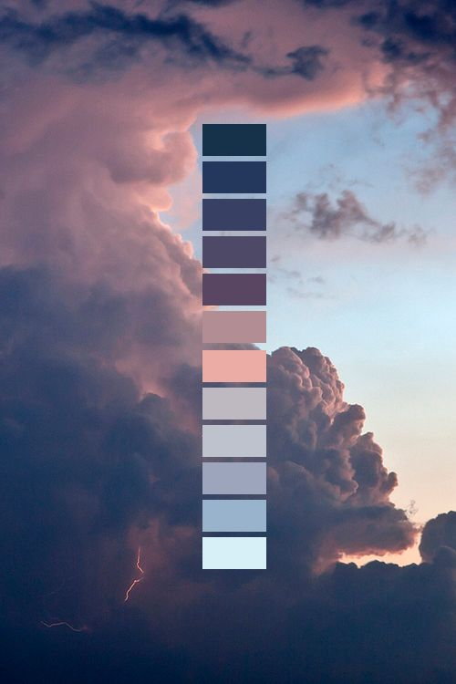 • blue pink purple clouds colors light blue g Peach lavender dark blue vertical color palette dark purple naturalpalettes •