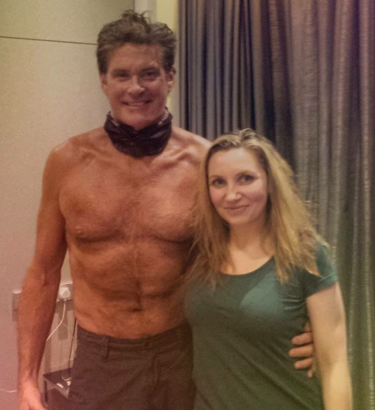 David Hasselhoff after having a spray tan in the Art'otel in Amsterdam. On this picture together with the tanning lady, which happened to be ME :) -Pure Tans