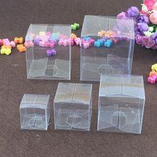 50 Pz/lotto Piazza Contenitore di Regalo Scatole di Plastica Trasparente IN PVC Impermeabile Trasparente del PVC Carry Cases Scatola di Imballaggio Per gioielli/Candy/giocattoli(China (Mainland))