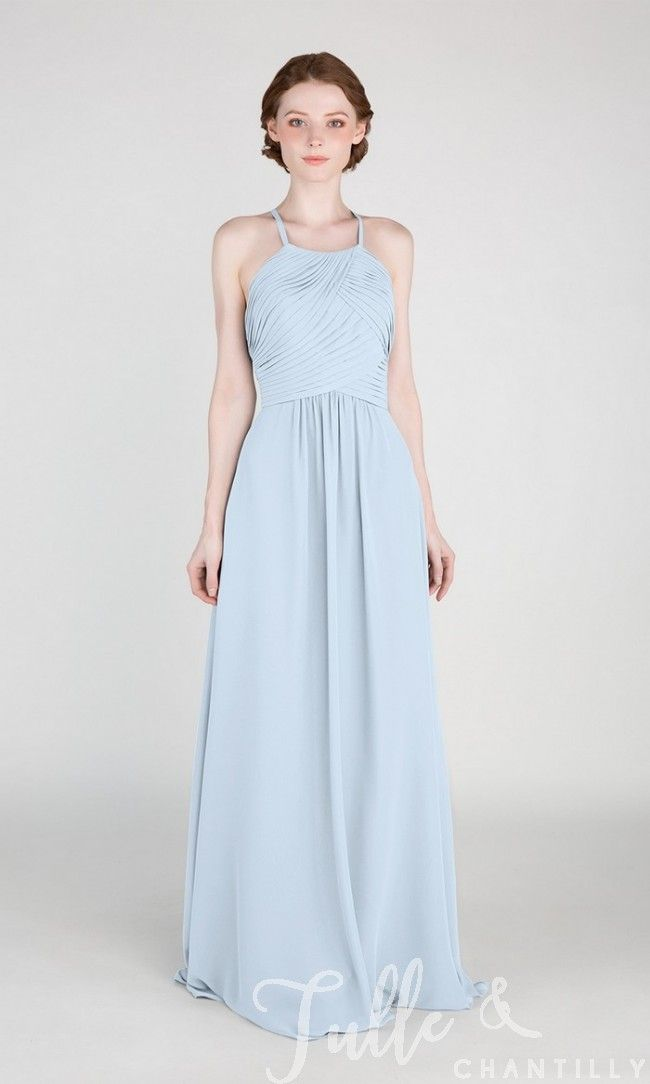 92ffe81dd71 Light Sky Blue Halter Long Chiffon Bridesmaid Dress with Open Back TBQP417