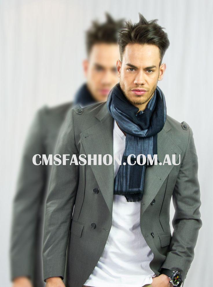 Mens Grey Blazer #mensfashion #mensjacket #blazer #simplestyle #accesories #scarf #mensscarf www.cmsfashion.com.au