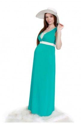 Rochie verde 2in1: pentru gravide şi alăptare