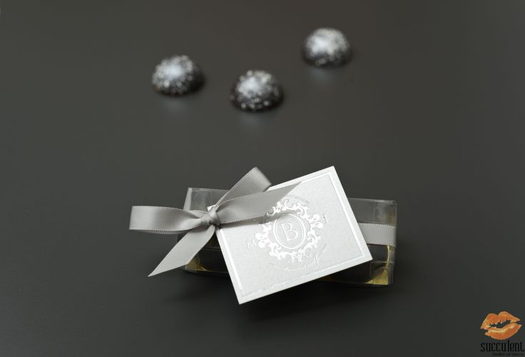 Our signature chocolate bonbons in a box of three for custom wedding favors.