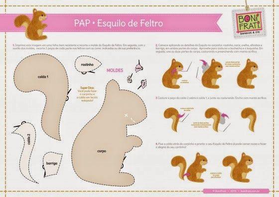 Eu Amo Artesanato: Esquilo com molde e passo a passo