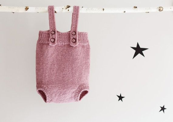 Hand Knit Romper Knitted baby Jumpsuit Knitted Babywear by LalaKa, $35.00