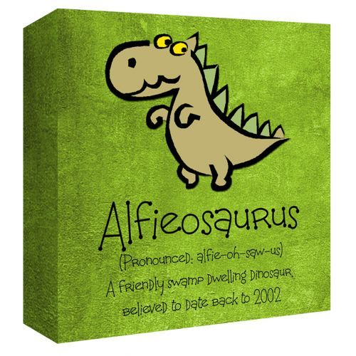 All boys love a dinosaur! This fabulously fun canvas print can be personalised just for your dinosaur-loving little one. The perfect piece of art to decorate your childs' bedroom wall.