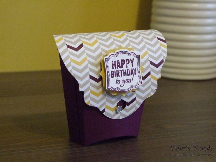 Stampin 'Up!  - Fry Box - Joyeux anniversaire Fry Box - tampon avec Val - Valerie Moody;  Indépendant Stampin 'Up!  Démonstrateur.  X