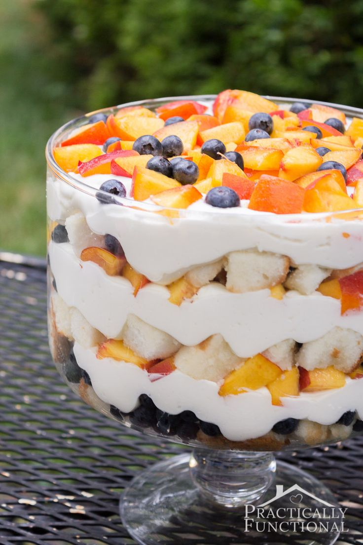 Summer Peach Blueberry Trifle Recipe
