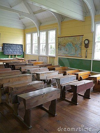 Old School House Classroom | Old school house classroom with desks at remote rural settlement ...